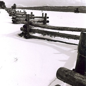Idaho Fence with Sawtooth Mountains (black and white)