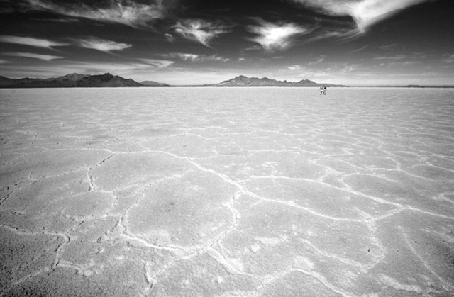 Two People on Bonneville Salt Flats, Utah